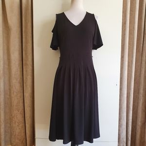 Jacqui E Black Stretch Knit Dress Size S